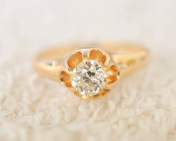 RESERVED /// 1800s Antique jewelry / 0.5 carat Diamond ring  / 14k gold engagement ring /// VICTORIAN PRINCESS