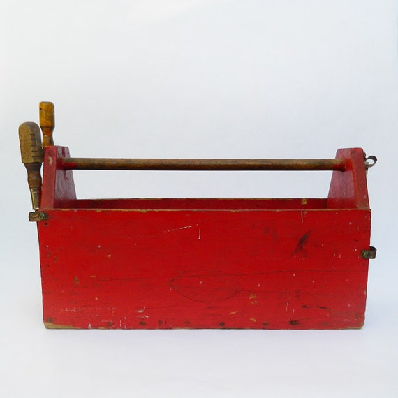 Vintage Wooden Toolbox - Home Made - Make Do - Red Rustic Wooden Tool Box - Garden Decor -  Natural Wood Handle - Copper Loops Hold Tools