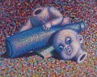 Bottle & Doll Still Life - original painting