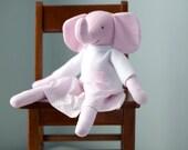 Plush Pretty Pink Elephant Soft Toy  -Handmade OOAK