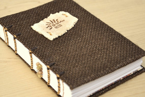 """Bad Hair Day Journal or Sketchbook - Handmade, coptic bound, burlap and clay, 4"""" x 6"""" size"""