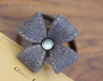 Nikkie's Felt Flower Ponytail Holder-Dark Gray