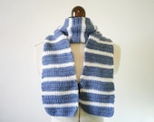 Crochet blue and white striped scarf