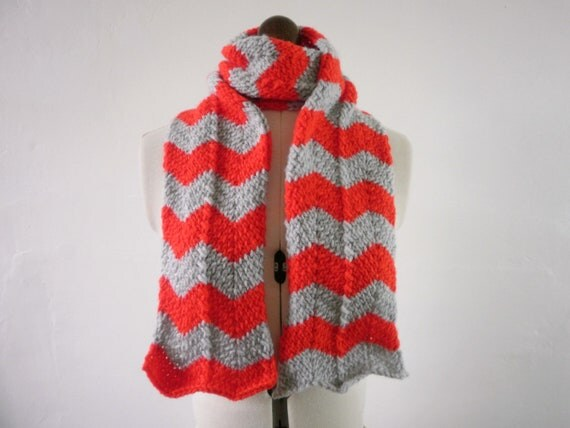 Red and grey chevron scarf , zigzag striped knit scarf