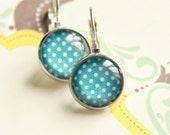 White and blue polka dot earrings - Simple jewelry - Free Worldwide Shipping - Gift for her under 20 USD