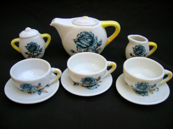 Childs Tea Party Set of Dishes Blue Flowers Yellow Eleven Pieces Made in Japan