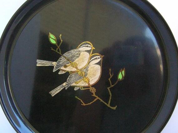 Couroc Round Black Tray with Birds Monterey California Heavy Plastic Platter