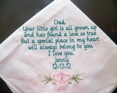 Embroidered Father of the Bride Personalized handkerchief wedding