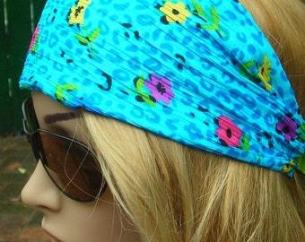 Women's wide hair band- Stretch Turban Headband -  urban turban head wrap headband aquamarine blue  pink yellow blue multi-color