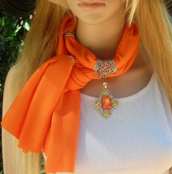 Scarf with Jewelry  Neon Jewelry Scarf  necklace scarf  Pendant Scarf  bright colors Get the look with a scarf orange
