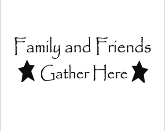 primitive friends and family large wall decal with stars