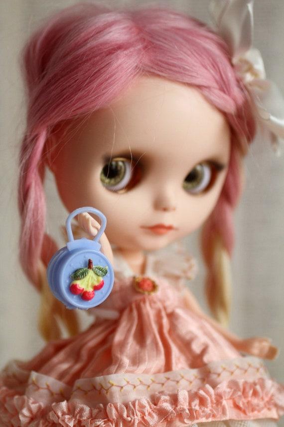 Vintage Cherry Sweet Plastic doll purse  handbag - perfect for Blythe, Pullip, and Barbie