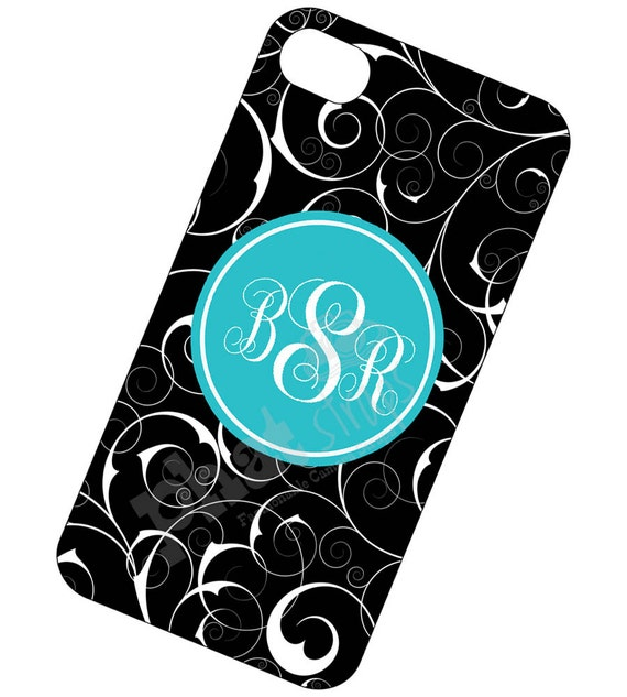 Monogrammed iPhone Case - Personalized Monogrammed Case, Monogram Phone Case for iPhone 4 and 4s - Tiffany Blue and Black Floral