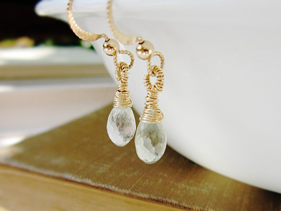 Mint Green Amethyst Earrings 14K Gold Fill Wire Wrap Green Amethyst Dangle Valentine Fashion under 50 Pale Mint Green
