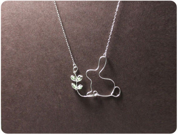 Reserved- Rabbit and Seedling Necklace, Sterling Silver Rabbit Necklace, Crystal beads