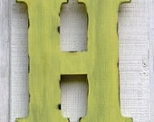 """Rustic Wooden Letter H Distressed Painted Sunshine Yellow,12"""" tall Wood Name Letters, Baby room decor"""