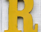 "Wooden letter R for nursery distressed 12"" tall shabby chic any letter and color you want"