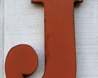 """Customized Wooden Wall Letter J Distressed in Terra Cotta12"""" tall Wood Name Letters Solid Wood 3/4"""" Thick Custom Gift You Pick Color"""