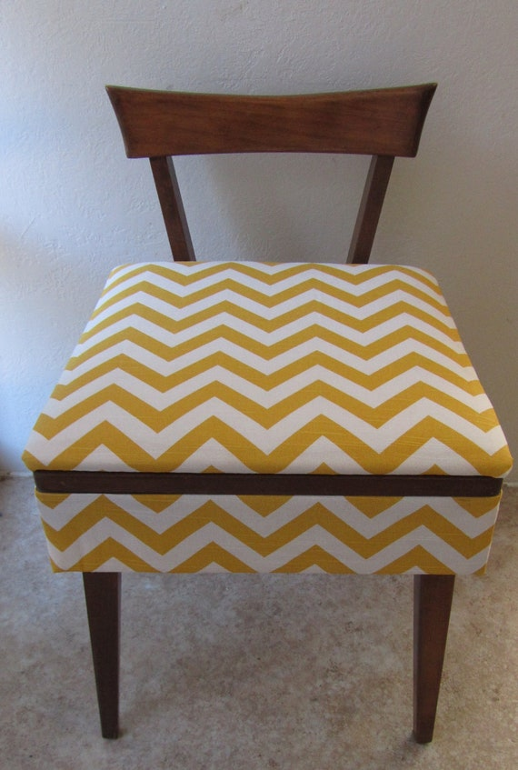 Reserved for Adrienne - Mid Century Sewing Stool / Vanity Bench - Reupholstered