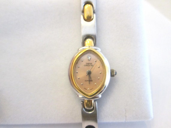 SALE...Vintage Sarah Coventry Supreme Wrist Watch In Two Tone Silver And Gold Stainless Steel...SALE