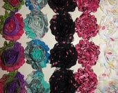 15% off  5 yds Chiffon rose prints flower trim  shabby frayed Roses for Hair Accessories