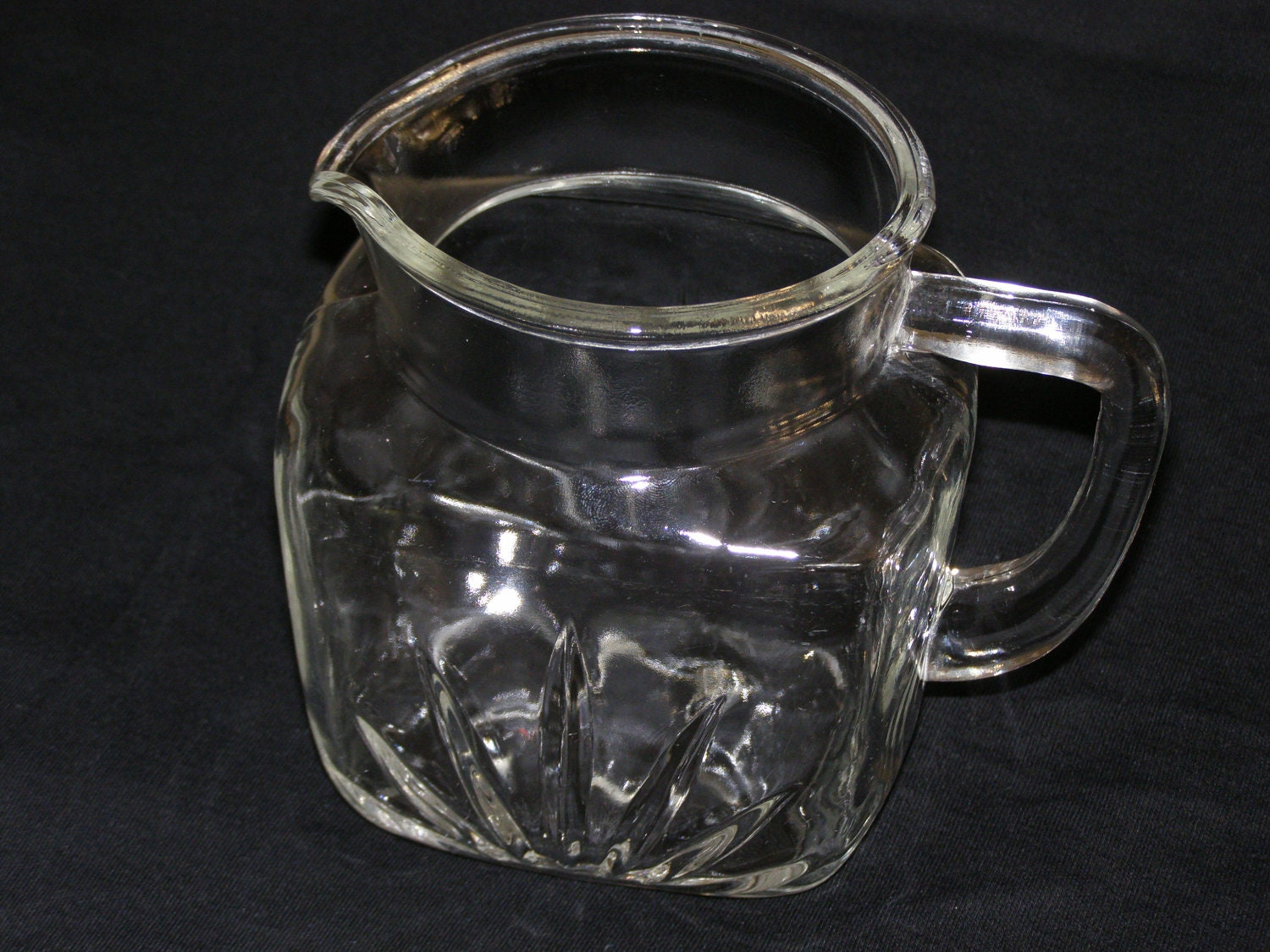 Vintage Glass Pitcher Square Base With Spout And Handle