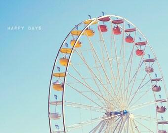 Fine Art Photography - Carnival Photography Nursery kids decor Ferris Wheel vintage print blue sky wall art Happy Days