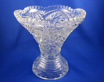 SPECIAL SALE -- Pressed Glass Vase, Vintage with Scalloped Edge, Pittsburg pattern