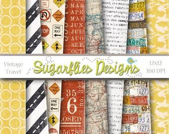 Digital Scrapbook Paper Packs -- VINTAGE TRAVEL