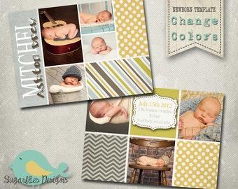 Baby Boy Announcement PHOTOSHOP TEMPLATE - Baby Boy Boyfriend