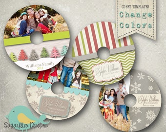 Christmas CD/Dvd Label PHOTOSHOP TEMPLATE  - Label 4 Pack
