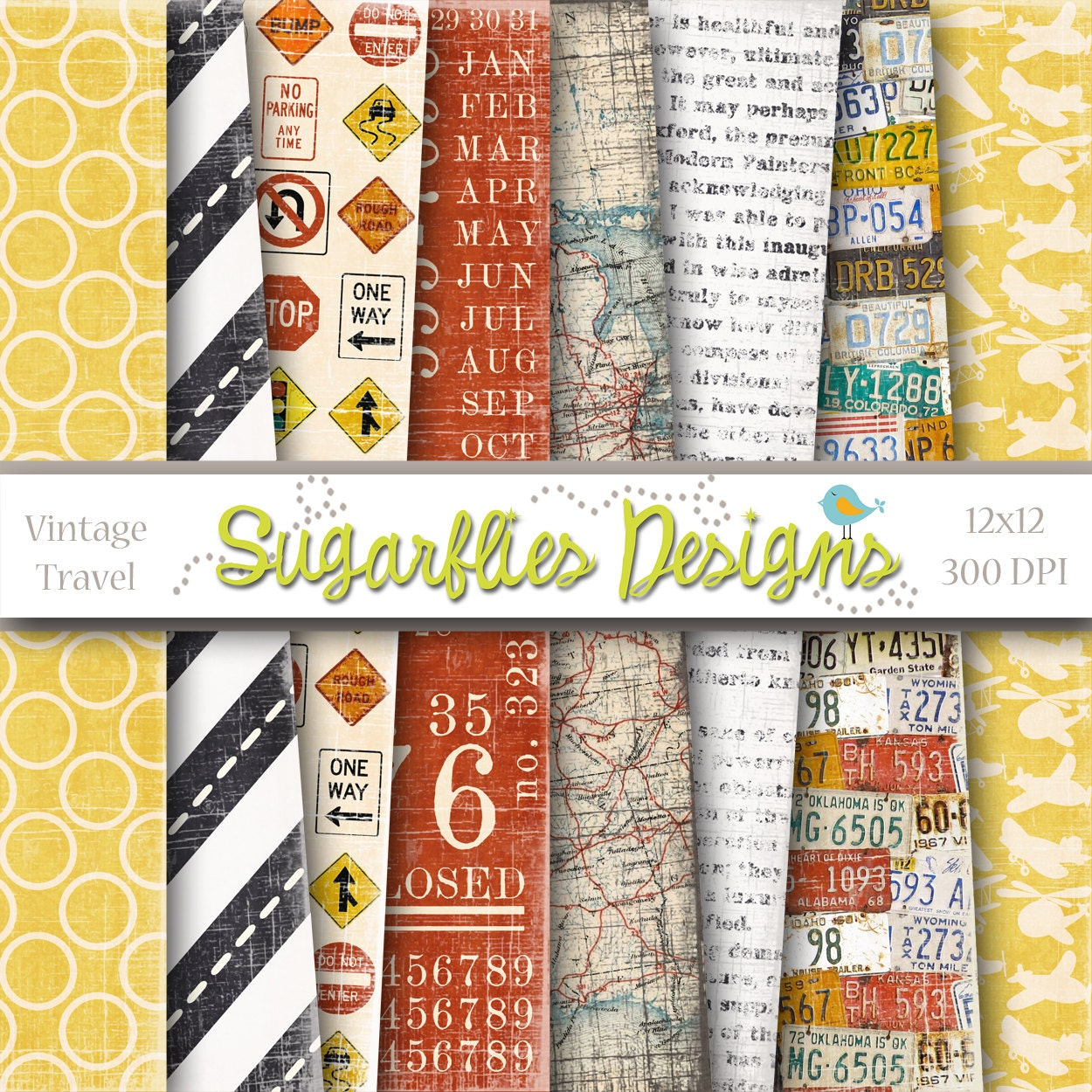 Vintage Travel Trailers: Digital Scrapbook Paper Packs VINTAGE TRAVEL