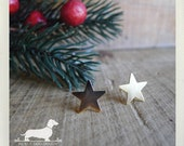 Gold Star. Post Earrings -- (Gold, Rustic, Cute, Vintage-Style, Star Earrings, Small, Birthday Gift for Her Under 10, Geometric, Simple)