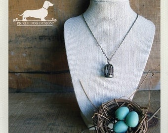 CLEARANCE! Songbird. Necklace -- (Vintage-Style, Antiqued Brass, Simple, Bird Cage, Rustic, Summer Fashion, Farmhouse Chic, Birthday Gift)