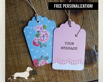 Blue Garden. Personalized Mini Gift Tags (Set of 12) -- (Vintage-Style, Bridal Shower, Wedding Favors, Baby Shower, Flowers, Custom Tags)