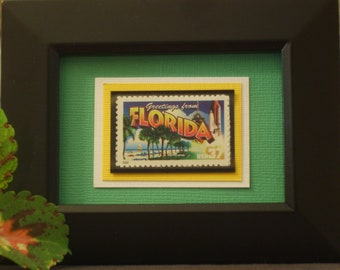 Greetings from Florida Framed Postage Stamp - No. 3569/3704