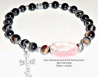 "Men's Bracelet  ""Faith"" Onyx, Rhodochrosite & 925 Sterling Silver Beads And Cross"