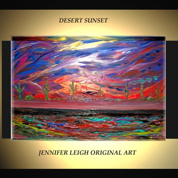Original Large Abstract Painting Modern Contemporary Canvas Art Orange Blue Desert Sunset 36x24 Palette Knife Texture Oil J.LEIGH
