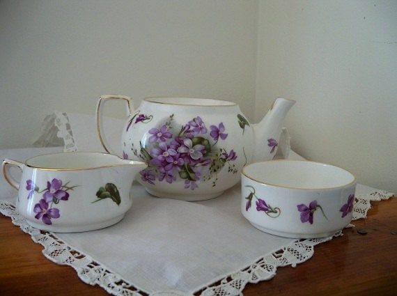 "Vintage Hammersley ""Victorian Violets"" stacking bone china teapot set - mint condition - Made in England"