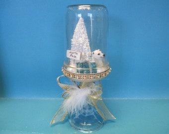 Christmas Mason snowglobe Jar polar bear christmas diorama  north pole sign trimed in gold and golden ribbon bow