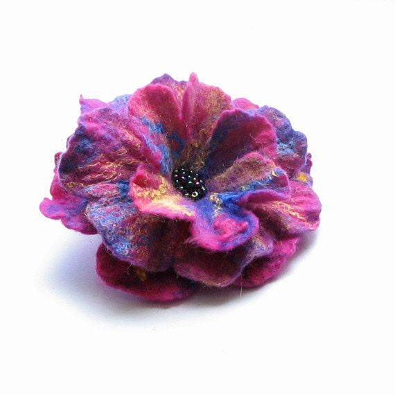 felted flower brooch hand felted brooch wool gift for her  unique gift