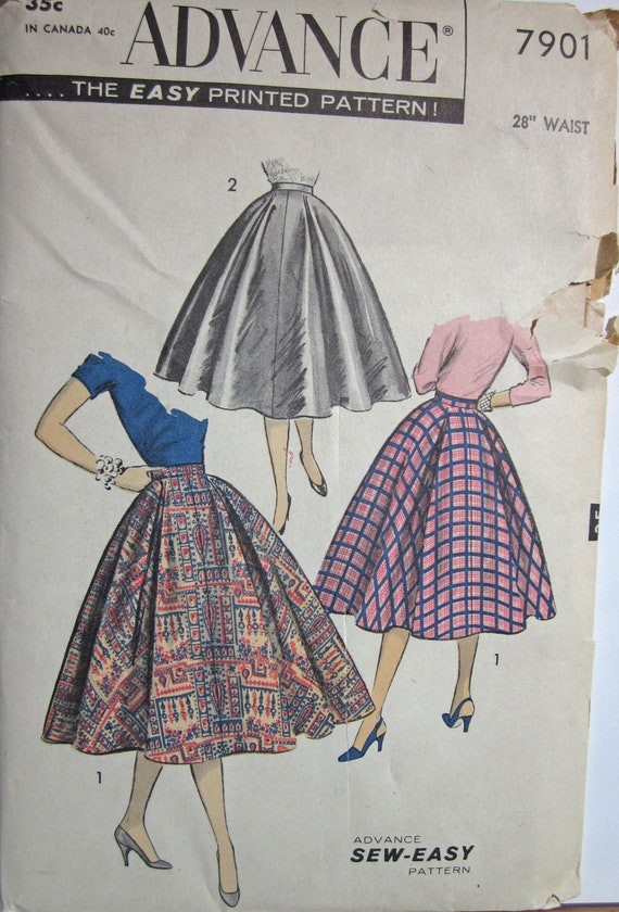 Vintage 1950s Advance 7901 UNCUT Sewing Pattern Circle Skirt Sew Easy Waist 28