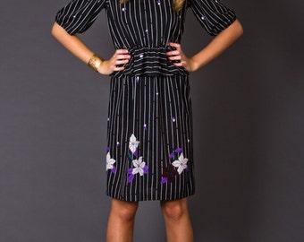 SALE 50% OFF 80s Vintage Striped Peplum Dress in Black