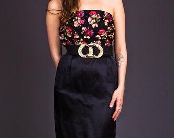 SALE 50% OFF 90s Vintage Black Satin Pencil Skirt