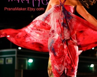 One-of-a-Kind Custom PranaMaker Scarf Wrap Art Dress with belt/scarf. Pink Wingz. Hand Painted by Natalia Hacerola.