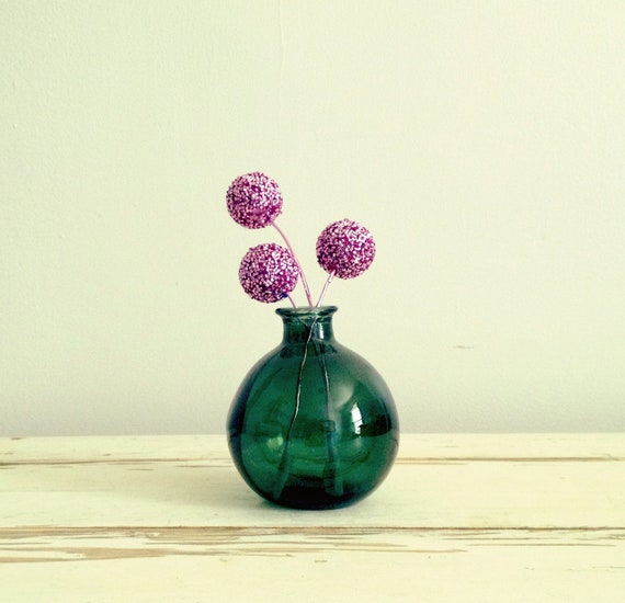 RESERVED FOR SEVERINE77 - Vintage Green Glass Round Bubble Vase