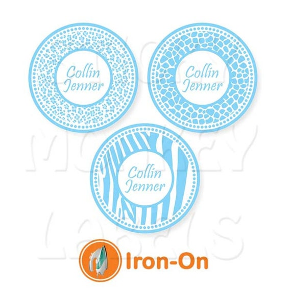 Iron on labels dot style animal prints in by for Iron on shirt labels