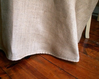 "78"" Round  Burlap Tablecloth with  Burlap Cording"