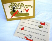 Upcycled Blank Card and Envelope Little Red Hen Vintage Book Pages