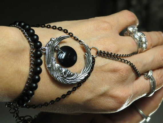 """Eclipse black moon """"Slave Bracelet"""" Ring. Crafted with Gunmetal Chains. Adjustable. 6"""" and up. Gothic."""